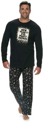 """Big & Tall Jammies For Your Families New Year's Eve """"Party Patrol"""" Top & Microfleece Bottoms Pajama Set"""