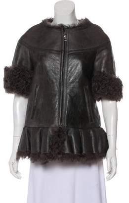 Prada Leather Zip-Up Jacket