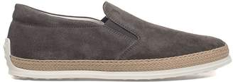 Tod's Dark Gray Rubber And Raffia Suede Slipper