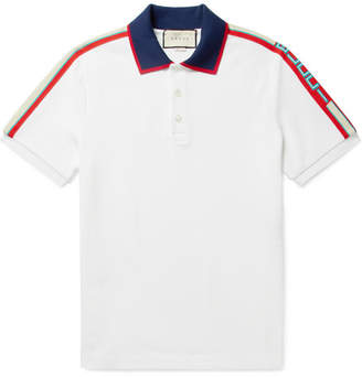 Gucci Webbing-Trimmed Stretch-Cotton Piqué Polo Shirt
