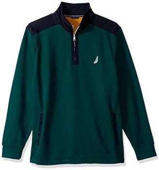 Nautica Men's Long Sleeve Half Zip Mock Neck Colorblocked Sweatshirt