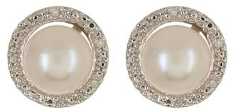 Savvy Cie Sterling Silver 7mm Cultured Pearl & Diamond Halo Stud Earrings - 0.05 ctw