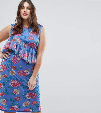 Asos Mesh Midi Column Dress in Floral Print