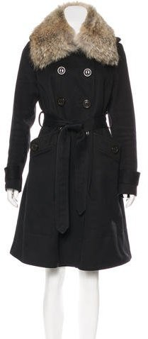 Marc by Marc Jacobs Fur-Trimmed Knee-Length Coat