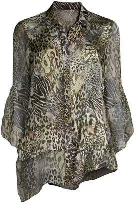 aacfbbee51f49 Elie Tahari Layla Safari Animal Print Silk Blouse