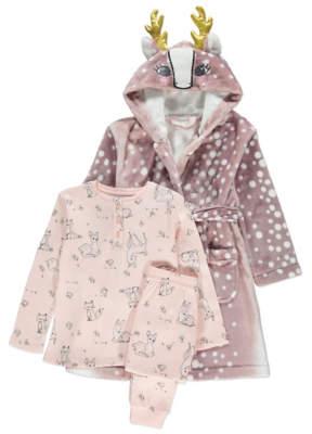George Long Sleeve Deer Pyjamas and Dressing Gown Set