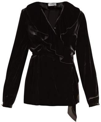 Racil - Wilt Ruffle Trimmed Velvet Wrap Top - Womens - Black