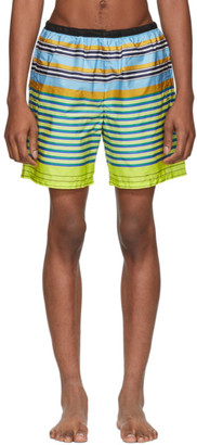 Prada Yellow and Blue Multi Line Swim Shorts