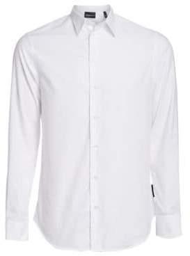 Emporio Armani Long-Sleeve Tonal Jacqaurd Button-Down Shirt