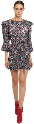 Etoile Isabel Marant Ruffled Floral Print Linen Mini Dress