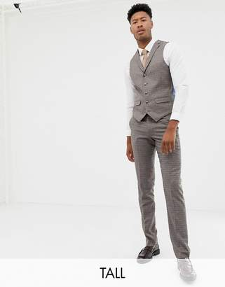 7bc5fb0d193e1 Harry Brown Tall brown micro-check slim fit suit waistcoat