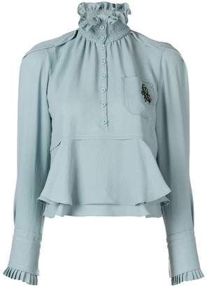 Carven smocked collar blouse