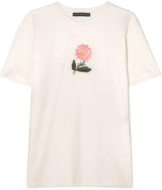 Embroidered Cotton-jersey T-shirt - Ivory