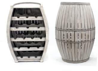 Gracie Oaks Donan Cool Half-barrel Shaped Wooden 16 Bottle Floor Wine Rack Gracie Oaks