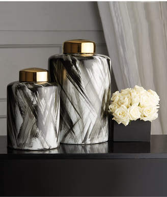 Twos Company Abstracts Set of 2 Black and White Brush Stroke Covered Jars with Gold Metallic Lid