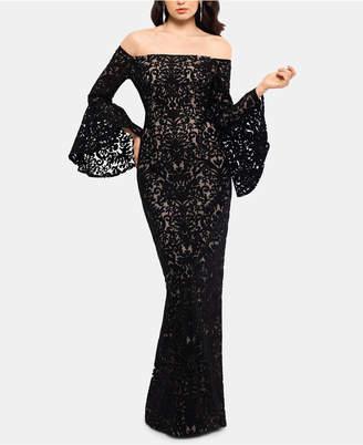 Xscape Evenings Petite Off-The-Shoulder Lace Gown