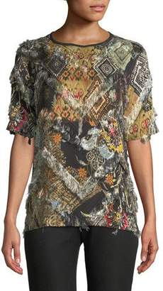 Etro Round-Neck Short-Sleeve Printed Eyelash-Fringe Layer Shell Top