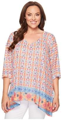 Nally & Millie Plus Size Border Print Tunic Women's Clothing