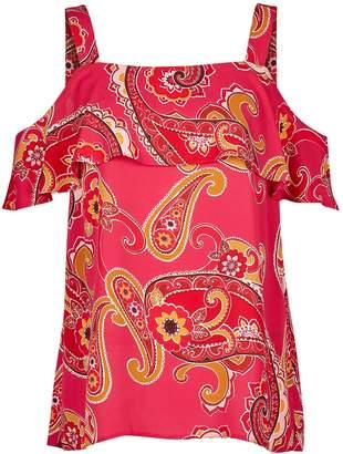 Dorothy Perkins Womens Pink Paisley Print Cold Shoulder Top