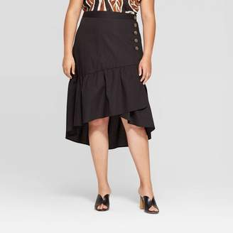 Who What Wear Women's Plus Size Mid-Rise Back Elastic A Line Skirt Black
