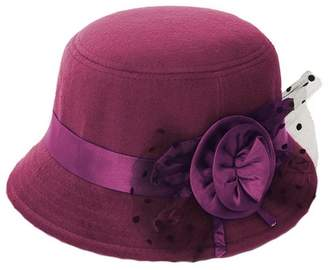 Church s Brcus Women Wool Felt Cloche Cap Bucket Top Hat Bowler Hats with  Flower Band 1b28099e4535
