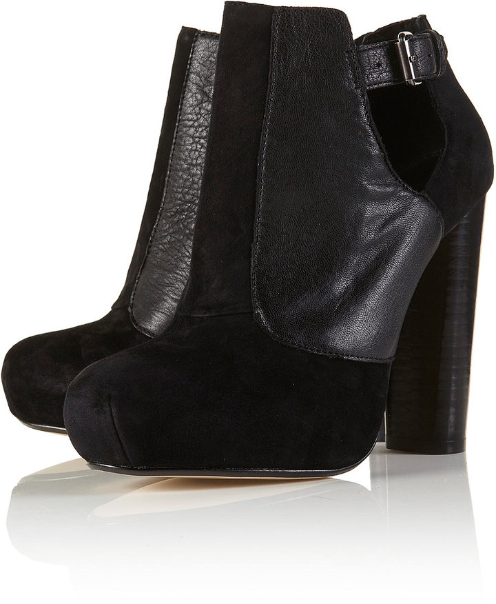 AIM Black Suede Cut Out Ankle Boots