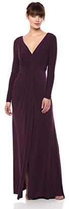 Vera Wang Women's Long Sleeve V Neck Gown