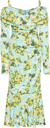 Dolce & Gabbana Cold-Shoulder Floral-Print Stretch-Silk Midi Dress