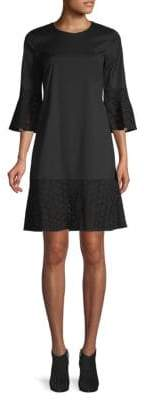 Lafayette 148 New York Embroidered Lace Bell-Sleeve Shift Dress