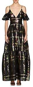 Cynthia Rowley WOMEN'S METALLIC PLAID SILK-BLEND COLD-SHOULDER MAXI DRESS SIZE 8