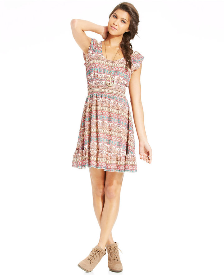 American Rag Printed Smocked-Waist Dress