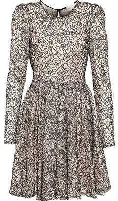 Milly Aria Pleated Corded Lace Mini Dress