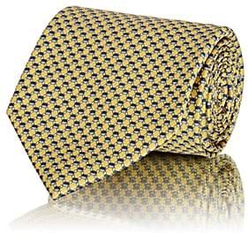 Brioni Men's Geometric-Pattern Silk Satin Necktie - Yellow