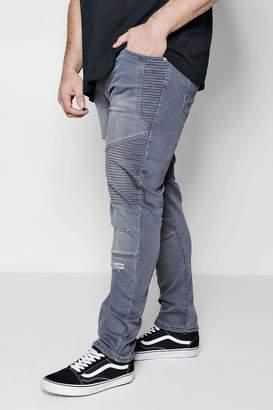 boohoo Big And Tall Slim Fit Biker Ripped Jeans