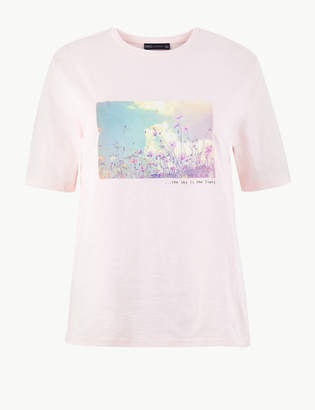 Marks and Spencer Pure Cotton Printed Straight Fit T-Shirt