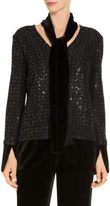 St. John Sprinkle Sequin Lattice Knit Top