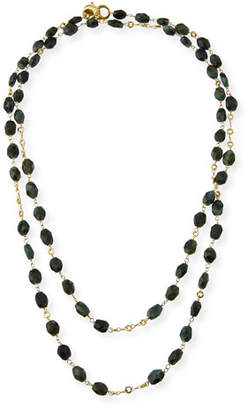 Dominique Cohen Faceted Emerald Station Necklace, 42""