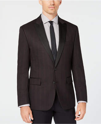 Ryan Seacrest Distinction Men Modern-Fit Stretch Burgundy Check Dinner Jacket