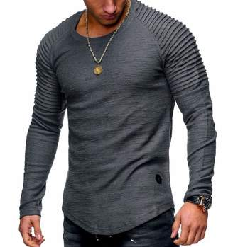 e4d80a1ccae9 RDHOPE-Men Causal Long-Sleeve Round Neck T-Shirt Tees Top Plus-