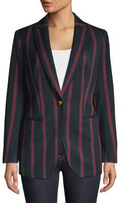 Anne Klein Striped Peak Lapel Blazer