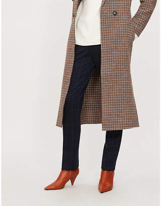 Theory Checked straight mid-rise knitted trousers