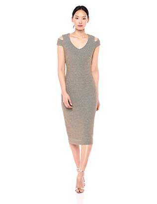 Dress the Population Women's Bryce Stretch Knit Bodycon MIDI Dress with Cut-Outs