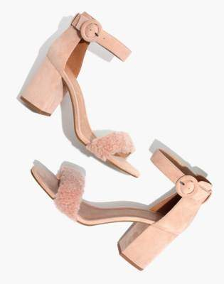 Madewell The Regina Ankle-Strap Shearling Sandal