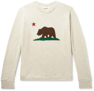 The Elder Statesman Bear-Intarsia Cashmere Sweater - Men - Off-white