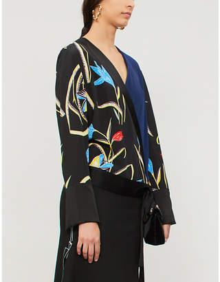 Diane von Furstenberg V-neck silk and satin wrap blouse