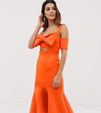 True Violet Bow Detail Midi Dress With Pep Hem