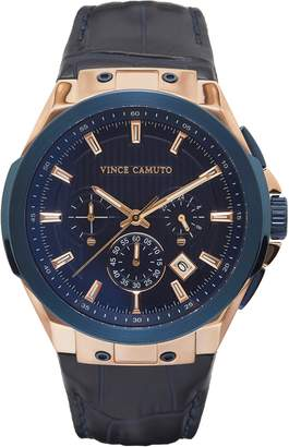 Vince Camuto Croc Leather-band Subdial Watch