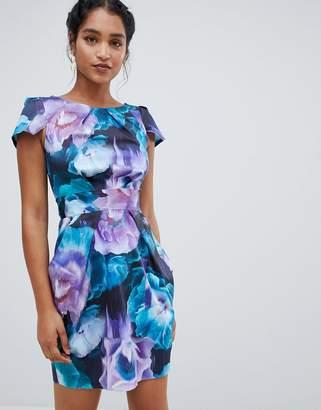 Closet London capped sleeve floral tulip dress