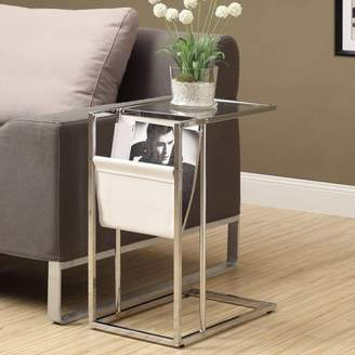 Monarch White/Chrome Metal Accent Table with Magazine Holder
