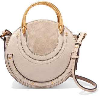 26a7e9aa780b ... Chloé Pixie Small Suede And Textured-leather Shoulder Bag - Light gray